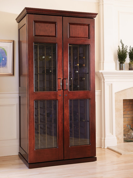 Le Cache Carolina 2400 Wine Cabinet Classic Cherry - Straight lines and simple moldings provide elegance and beauty for relaxed-chic decors. Hardwood doors with 3 panels showcase fine wine collections with style. Sealed seams, premium insulation and tinted double-paned glass provide thermal and UV protection.These options are included in the price of your wine cabinet.