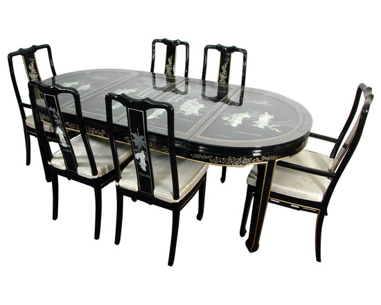 Oriental Furniture - Lacquer Dining Room Set - Black Mother of Pearl - A remarkable work of East Asian craftsmanship, this is Ming lacquer ware furniture at its best. The classic oval dining table has two removable leaves, each graced with traditional, hand-carved mother of pearl artwork. The set includes six matching chairs (including two arm chairs), each with fitted cushions and subtle, beautiful sateen covers, as shown.  This stunning, handmade set makes a beautiful, stately centerpiece for the upscale dining room.