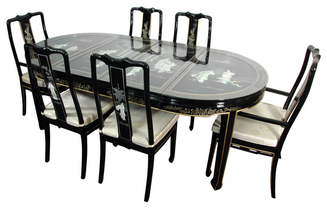 Lacquer dining room set black mother of pearl asian for Oriental dining table