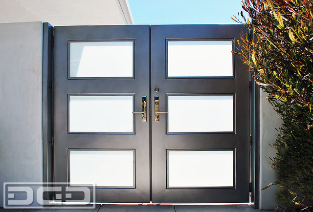Modern Architectural Entry Gate With Chrome Handle & Steel Framed Frosted Glass! - Modern ...