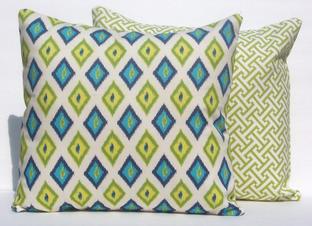 Blue and green Ikat and fretwork contemporary-decorative-pillows
