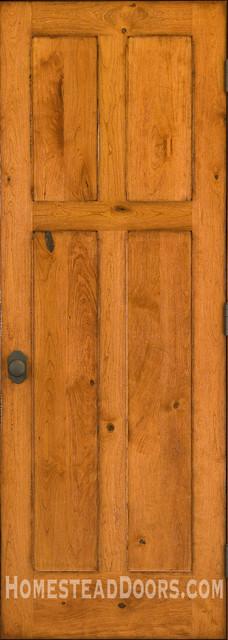 Rustic doors solid cherry 4 panel door with distressed for Mediterranean interior doors