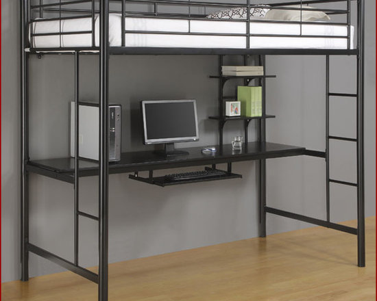 Sunset Metal Twin with Workstation Bunk Bed in Black - The design gives a stylish modern look crafted with stylish sturdy metal construction. Designed with safety in mind, the bed includes full length guardrails and a sturdy integrated ladder.  A wonderful and practical workstation attached to the bed will be a truly needed space to work.