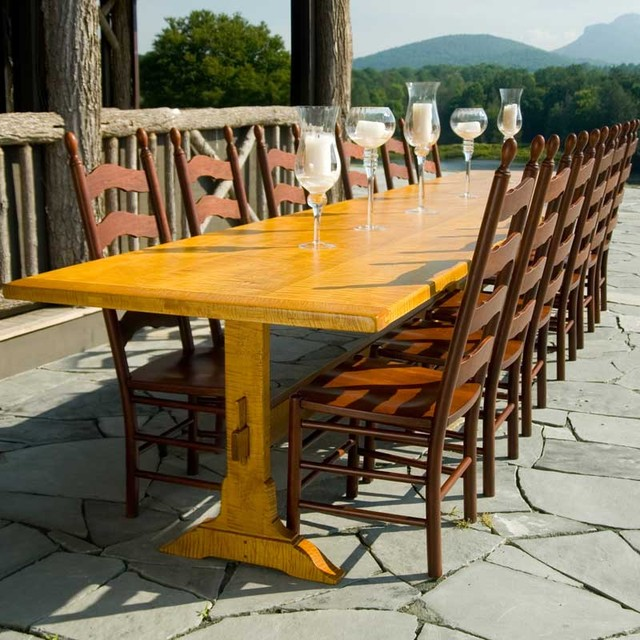 designs in wood long banquet tiger maple trestle table contemporary