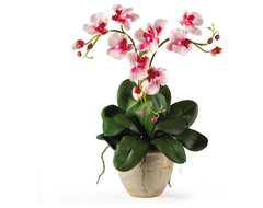 Nearly Natural Triple Mini Phalenopsis Silk Orchid Arrangement in Pink traditional-artificial-flowers