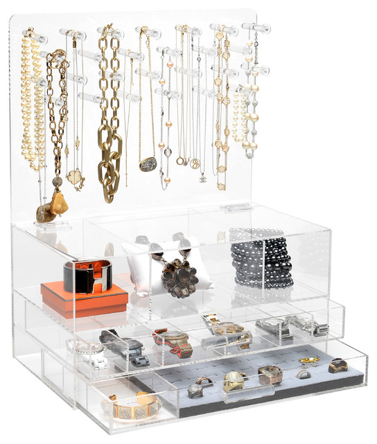 """GLAMclassic Jewelry box, 9"""" X 20"""", Without Acrylic Handles - Contemporary - Jewelry Boxes And ..."""