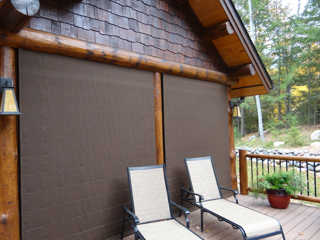 Outdoor Shades cover screen porch - Rustic - Roman Shades ...