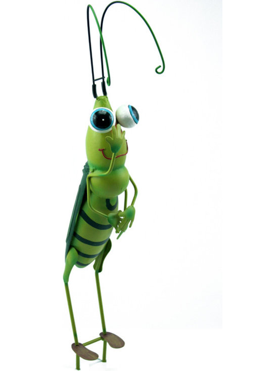 Outdoor Accents - Grasshopper Garden Stake  -  Brightly colored accent crafted from metal. A mascot for your garden.
