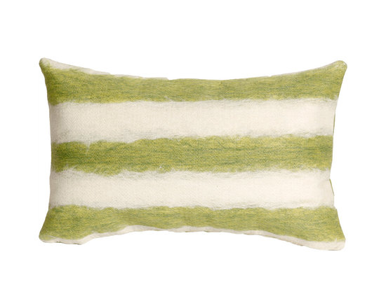 Liora Manne Green and Cream Soft Stripe Rectangular Throw Pillow