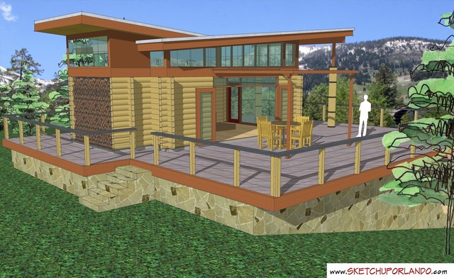 Cabin one deck view designed in sketchup for Sketchup deck design