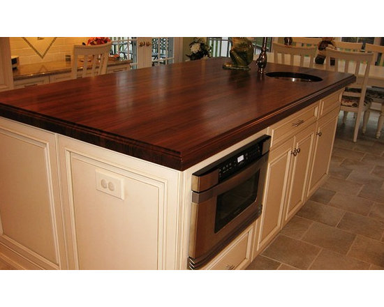 Walnut Kitchen Island Countertop and Bar with Sink. Designed by Modern Elegance - http://www.glumber.com/