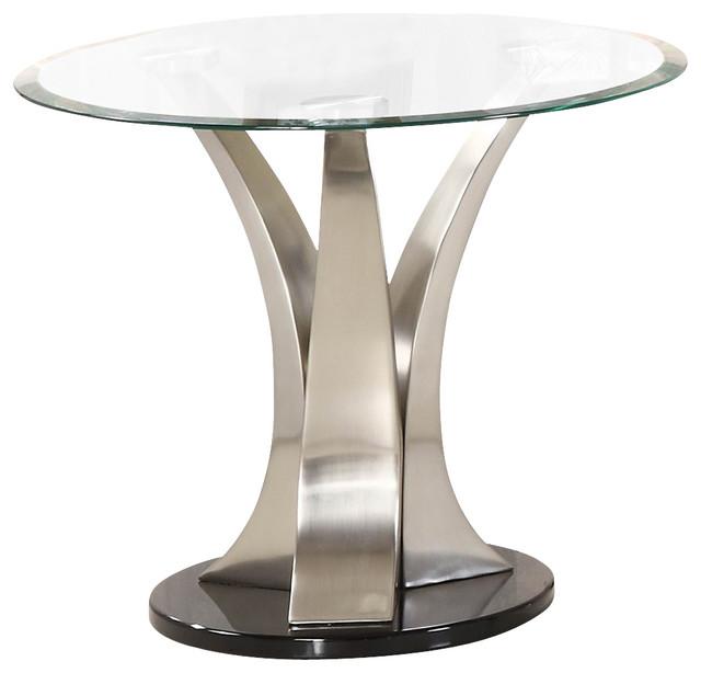 homelegance charlaine round glass end table on chrome