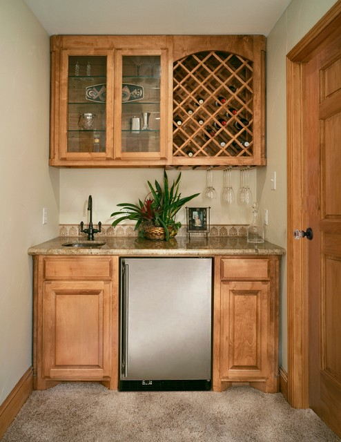 Wetbar With Wine Rack And Undercounter Refrigerator Traditional Home Bar
