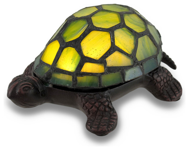 LED Wireless Tiffany Style Green Stained Glass Turtle Accent Lamp 5 in. - Victorian - Table ...