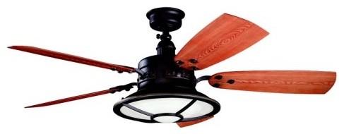 Kichler 310102TZP Harbour Walk 52 in. Outdoor Ceiling Fan - Tannery Bronze contemporary-ceiling-fans