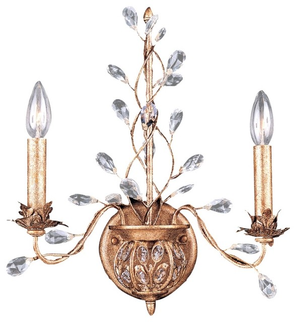 Flower and vine gold leaf wallmount fixture traditional for Indoor decorative live plants