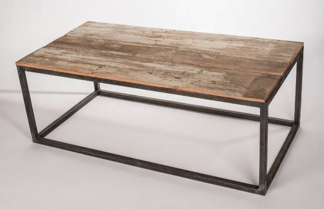 Metal frame wood top table industrial coffee tables - Table basse metal industriel loft ...