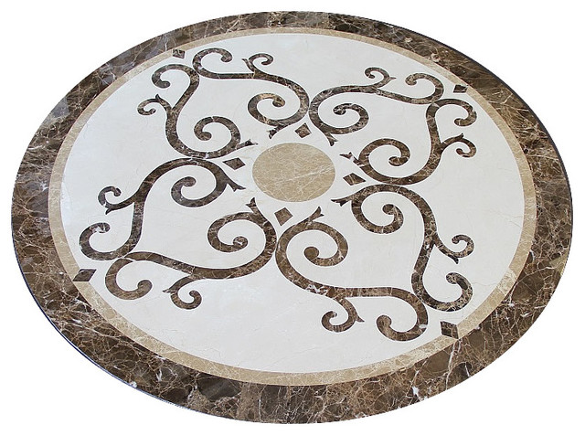 Stone Medallion Inlays : Elegant marble floor medallion quot round waterjet cut
