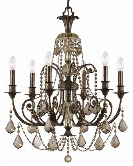 Golden Teak Hand Polished Crystal Wrought Iron Chandelier , English Bronze Finis modern-chandeliers