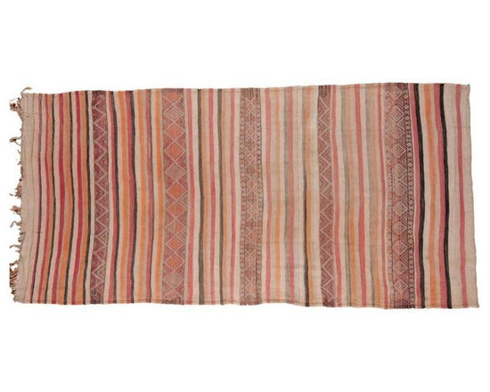 "Pre-owned Vintage Kilim Runner Rug - 5'2"" x 10'9"" - A vintage tribal and geometric kilim rug with many stripes in grey, ivory, charcoal, red, orange and more! Due to the nature of construction, this rug may be used on either side. Kindly refer to images for light staining or discoloration.     This wide runner rug was recently professionally cleaned and is ready for in-home use, with many years of enjoyment left to come! The exact size measures 5'2"" x 10'9""."