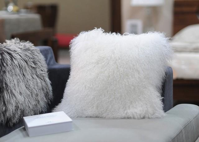 Tibetan / Mongolian Lamb Fur Pillows - Snow White - Contemporary - Decorative Pillows - portland ...