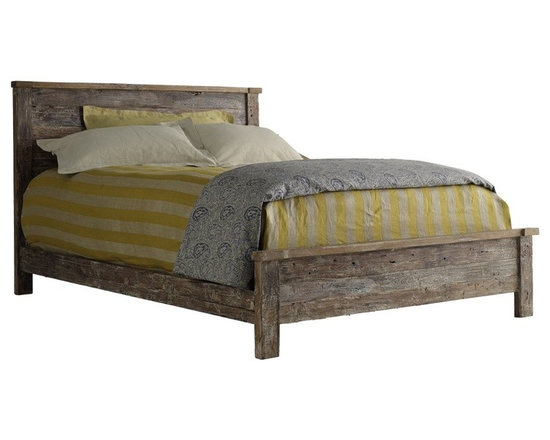Hampton Teak Platform Queen Bed - From humble beginnings come fantastic ends. Our Hampton Bed is made from 100 year-old wood planks that has been reclaimed from old buildings with a Lime finish. This collection seamlessly combines the warmth and character of beautifully aged woods to the refreshing lines of current style. A protective finish of a dull water based lacquer retains the natural beauty of the aged wood. While the rustic style of each Bed remains the same, the old wood gives every reclaimed wood bed its own unique characteristics.