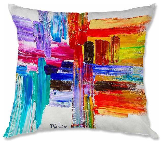 Pillow Woven Poplin by Lam Fuk Tim Color Strokes contemporary-decorative-pillows