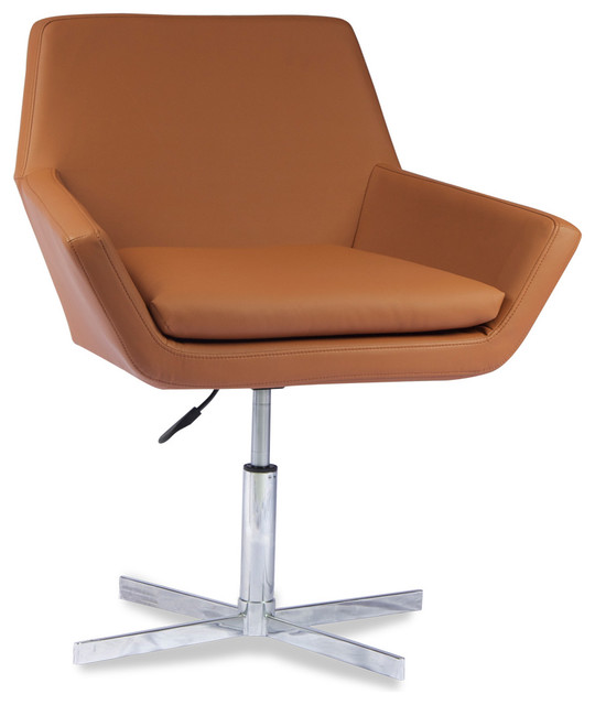 Arden Light Brown Faux Leather Chair modern-accent-chairs