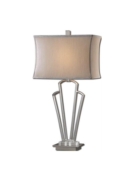 Uttermost Hazeltine - Polished nickel plated metal with crystal accents. The rectangle modified box shade is a silken silver fabric