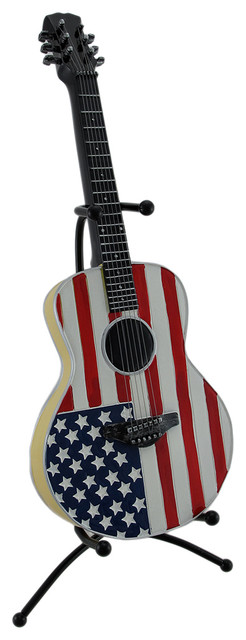American Flag Acoustic Guitar Coin Bank Piggy Bank with Stand - Traditional - Piggy Banks - by ...