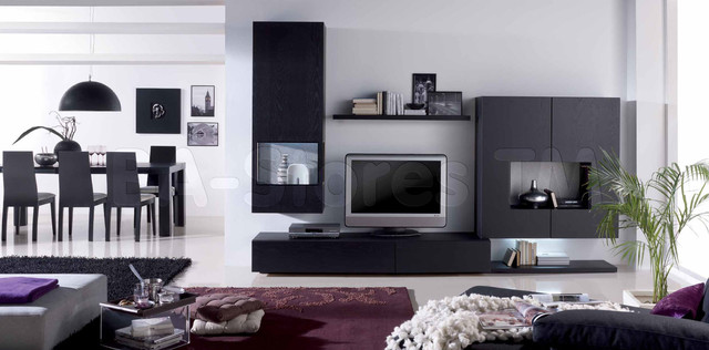 Graphite Oak/Gold Fantasy Wall Unit Composition 20 - modern ...
