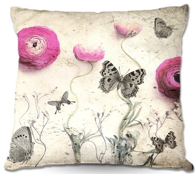 Pillow Linen - Monika Strigels Vintage Butterfly contemporary-bed-pillows-and-pillowcases
