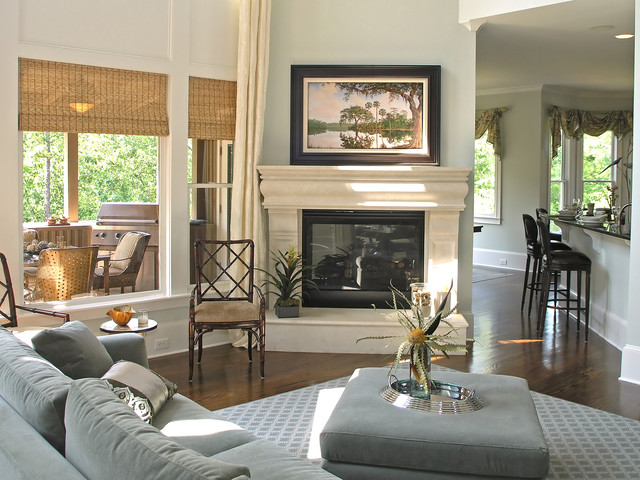 Woven Wood Blinds | Traditional & Open Concept| Blue | Traditional Fireplace beach-style-vertical-blinds