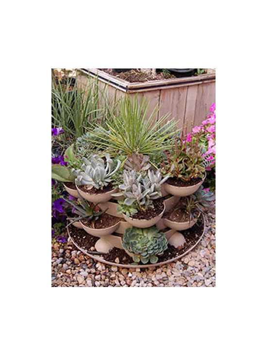 Outdoor Stack & Grow Stackable Garden Planter w/ Cactus - Incredible indoor / outdoor stackable garden planter with a wheeled base. Just stack & grow. Grow herbs, flowers, house plants, cactus garden, more. Made in the USA. Durable, UV resistant material. 5 colors.