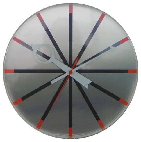 George Nelson 11.25 in. Contemporary Silver Wall Clock contemporary-clocks