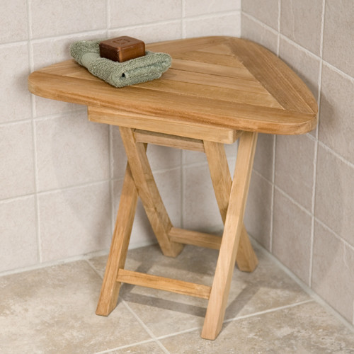 Teak Folding Corner Shower Seat Contemporary Shower Benches Seats