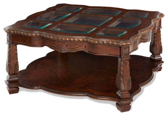 Aico Windsor Court Square Coffee Table Vintage Fruitwood Traditional Coffee Tables By