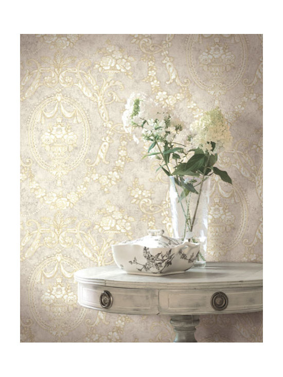 Vintage Wallpaper - A chic cameo vintage wallpaper design available from Brewster Home Fashions