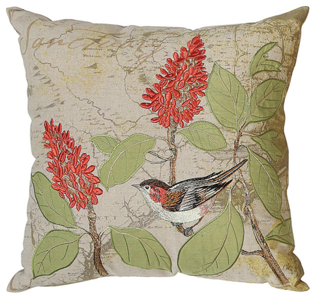 Decorative Pillows With Bird Design : Embroidered Bird Pillow - Eclectic - Decorative Pillows - atlanta - by Iron Accents