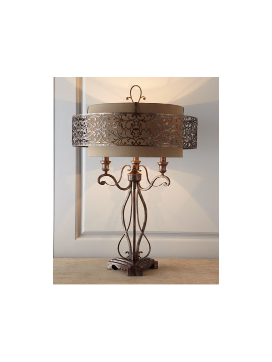 John-Richard Collection - John-Richard Collection Moroccan-Inspired Lamp - Add a bit of middle-eastern allure to your decor with this Moroccan-inspired lamp. The enchanting halo of laser-cut metal surrounding its round shade echoes the arabesque quality of its scrolled metal base. From the John-Richard Collection. Handcrafte...