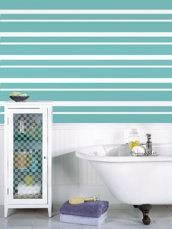 """Calypso Stripes Set of Wall Decals - Voted color of the year! Call it teal of peacock blue! This pack comes with four 6.5"""" wide Calypso teal stripes, a total of 64' long. All WallPops are repositionable and always removable."""