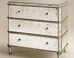 Currey and Company Antiqued Mirror 3 Drawer Chest