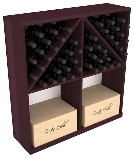 Solid Case/Bottle Storage Bin in Redwood, Burgundy contemporary-wine-racks