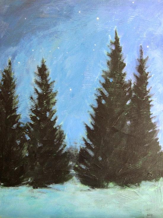 """Star Gazers"" Artwork - Pines and night sky."