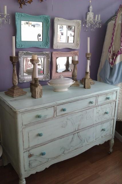 Beach cottage Antique Distressed Dresser Aqua Blue eclectic