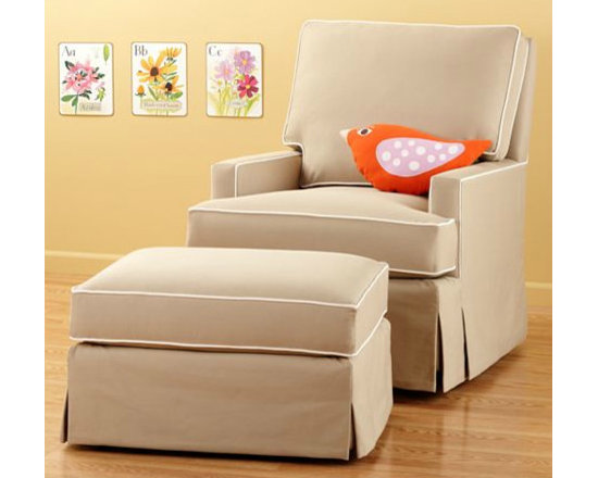 Khaki Sand Swivel Glider Chair and Ottoman -