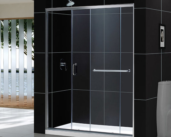 "Dreamline - Infinity-Z 56 to 60"" Frameless Sliding Shower Door, Clear 1/4"" Glass Door - The Infinity-Z sliding shower door delivers a classic design with a fresh attitude. Features of convenience like a handy towel bar and fast release wheels that make cleaning the glass and track a cinch are combined with the modern appeal of a frameless glass design. Choose the simply sophisticated style of the Infinity-Z sliding shower door."