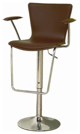 Brown Bonded Leather Adjustable Bar Stool contemporary-bar-stools-and-counter-stools