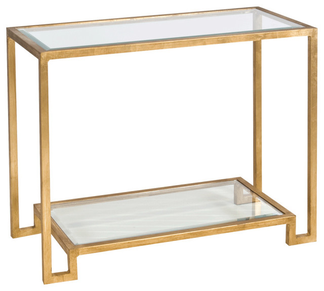 Worlds Away Gold Leafed Console Table With Beveled Glass