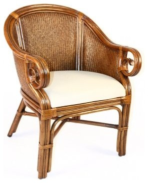 rattan sunset reef indoor rattan wicker club chair with cushions